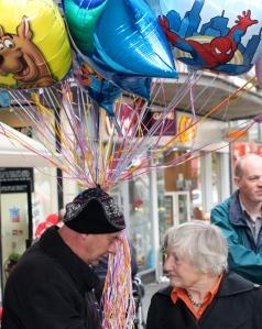 Baroness Williams meets a balloon seller on Fargate