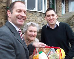 Paul Scriven and Ben Curran, pictured with a Walkley Resident in April.
